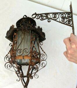 Gorgeous Vtg Gothic Spanish Revival Copper Finish Iron Hanging Lantern Light