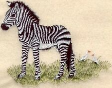 Large Embroidered Zippered Tote - Baby Zebra M1314