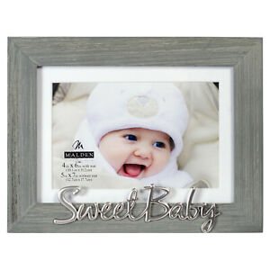 4x6 SWEET BABY Distressed Expressions Gray Wood Frame 5x7 Mat / Silver Accent