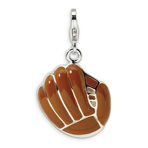 3-D Brown Baseball Glove Clip-On Charm In 925 Sterling Silver 30 mm x 18 mm