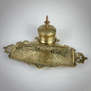 Encrier plumier XIXe siècle en bronze doré ciselé 19e - Antique gilded inkwell