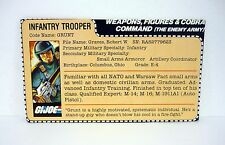 G.I. JOE GRUNT FILE CARD Vintage Action Figure AWESOME SHAPE 1982