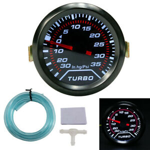 X AUTOHAUX Psi Bar Turbo Boost Vacuum Gauge Meter Kit Silver Tone Dial Universal with T Type Three Way Connector for Car Truck