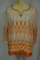 ALFRED DUNNER Women's 3/4 Sleeve Tunic Top with Embellished Neckline - Size 12
