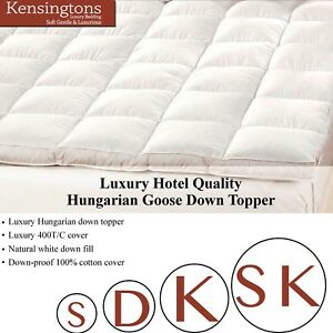 """100% Pure Hungarian Goose Down Hotel Quality Mattress Topper with 2"""" side walls"""