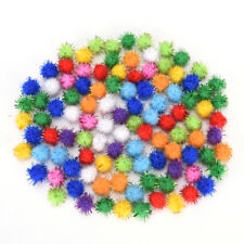 100X glitter tinsel pompom balls small pompoms ball cat puppy toys pet supply FG