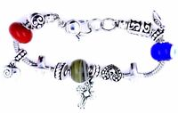 Vintage retro style antique silver coloured beaded charm bracelet, cross, heart