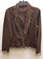 JOSEPH RIBKOFF Brown And Black Shimmer Embelished Thin Fringe Blazer Jacket Sz S