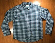 Columbia Button Up Shirt Men's Size Large Plaid Checks Blue