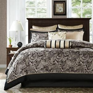 BLACK SILVER 12pc Queen COMFORTER + SHEET SET: JACQUARD GOLD PAISLEY AUBREY BIAB