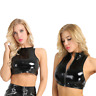Women Wet Look PVC Leather Sleeveless Tank Crop Top Zipper Blouse Vest Clubwear