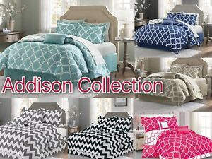 Addison Collection 10-Piece Comforter Set Reversible Bedding + Bed Sheets SALE!!