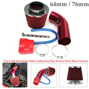 Car Cold Air Intake Filter Induction Red Pipe Power Flow Hose System Universal