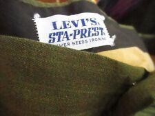 32x31 True Vtg 70s LEVIS STAPREST IVY LEAGUE STRAIGHT GREEN PINSTRIPE PANTS