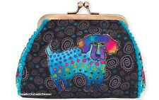 Laurel Burch Poodle Pup Dog Coin Purse 5.5x4.75 Multi on Black NEW 2017