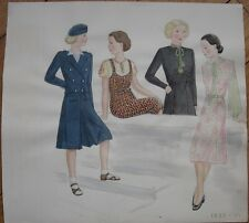 Original Art/Hand-Painted Fashion/Clothing Painting: Ten Children 1933-1934 - 18