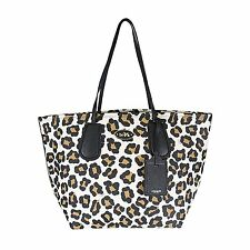 Coach 33851 Taxi Textured Leather Ocelot Print Top Zip Tote (White Multicolor)