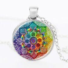 Flor De La Vida Collar mandala Meditación Budista Chakra de vidrio de color