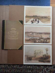 "(SET OF 3) DAVID ROBERTS 19"" X 13"" SKETCHES IN EGYPT & NUBIA WITH FOLDER"