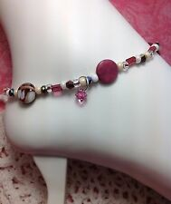 Mother Of Pearl Rose Czech Shell Swarovski Element Ankle Bracelet/Anklet USA