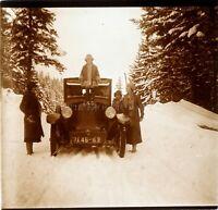 FRANCE Alpes Neige Vacances Montagne Voiture Automobile ca 1920, Photo Plaque