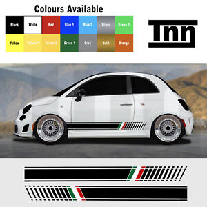 Side Stripes Graphic Decal Sticker Italian Flag For Abarth Fiat 500 595 Punto