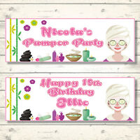 2 PERSONALISED PAMPER/SPA PARTY BIRTHDAY BANNERS - ANY NAME/AGE/MESSAGE