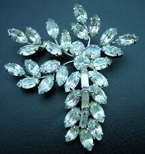 Vintage Facet Cut Crystal Glass Baguette & Marquis Prong Set Flower Spray Pin