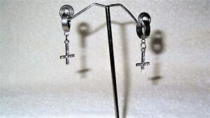 Crystal Inverted Upside Down Cross Earrings Jewelry Goth Death Rock Satanic