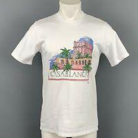 CASABLANCA Size S White Cotton Graphic T-shirt