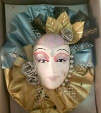 Clay Art Ceramic Face Wall Mask, Gold Jester Decorative, Wall Hanging face