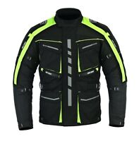 Motorbike Motorcycle HiVis Jacket, CE Approved Armour Cordura Textile Waterproof