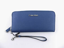 CALVIN KLEIN  Blue SAFFIANO ZIP AROUND Clutch Women's Wallet