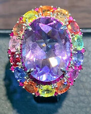 NATURAL AMETHYST16X12 FANCY SAPPHIRE RUBY DIAMOND CUT STERLING SILVERN925 RING