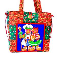 CHRISTMAS GINGERBREAD MAN Handmade Tote bag ~ 100% Cotton Prewashed Fabric (#A)