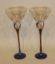 "Clear Base 7.5/"" Tall Holds 8 oz Decorative Stem Amber Martini Glass"