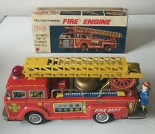 VINTAGE KOKYU (JAPAN) LARGE TINPLATE FIRE ENGINE FRICTION DRIVE AUTO LADDER BELL