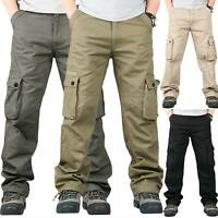 Mens Casual Tactical Pants Cargo Combat Baggy Loose Fit Trousers Jogger Pockets