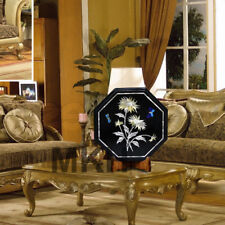 Coffee Table Top Marble Furniture Side Table Inlay Gems Stones Marquetry Vintage