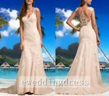 White Ivory Lace Tulle Illusion Back Beach Wedding Dress Bridal Gown Custom Size