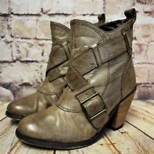 Womens Red Herring Brown Leather Pull On High Heel Ankle Boots UK 5 EUR 38