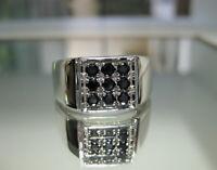 Men's Genuine Black Spinel Ring In 925 Sterling Silver- New Spinel Ring Sz 10.25