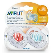 Philips Avent Bpa Free Freeflow Pacifiers 6-18 Months, Assorted Colors 2 ea