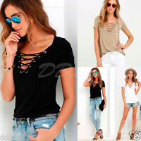 Plus S-5XL Women Sexy V-Neck Lace Up T-Shirt Casual Short Sleeve Tops Blouse