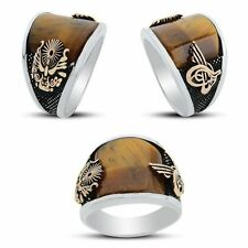 Turkish Ottoman Style Natural Tigers Eye  Gemstone Solid 925 Sterling Silver Men