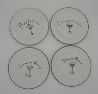 Pottery Barn Set of 4 Martini Collection Dessert Cocktail Appetizer Plates