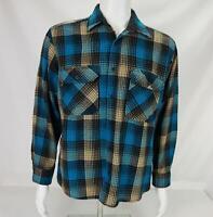 VTG Sears Roebuck Wool Blend Button Down Shirt Plaid Multicolor Men's Large