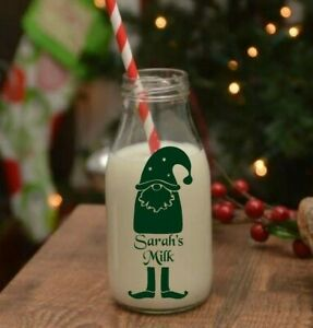 personalised santa gonk name sticker for milk drinks bottle xmas christmas