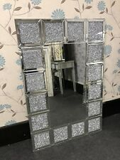 Sparkly Square Diamands Crystal Panel Frame Wall Mirror Glits