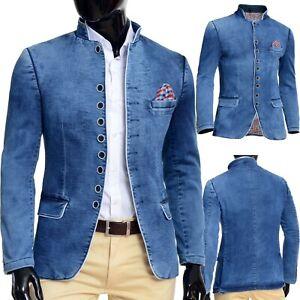 Mens Denim Jacket Washed Out Blue White Piping Band Grandad Collar Slim Fit UK